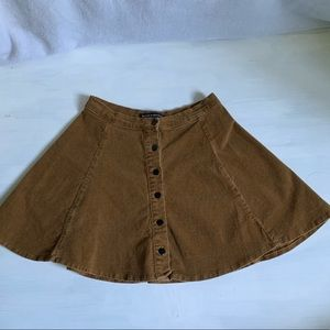 Brandy Melville Gold/Brown Suede A-line Mini Skirt